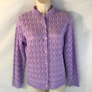 VTG M Purple Pointelle Cardigan Sweater Open Weave